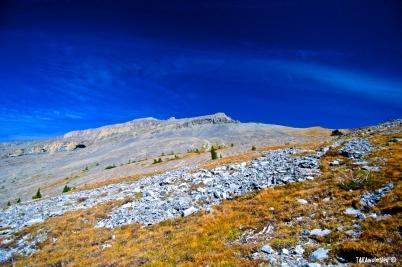 Blue skies over rocks